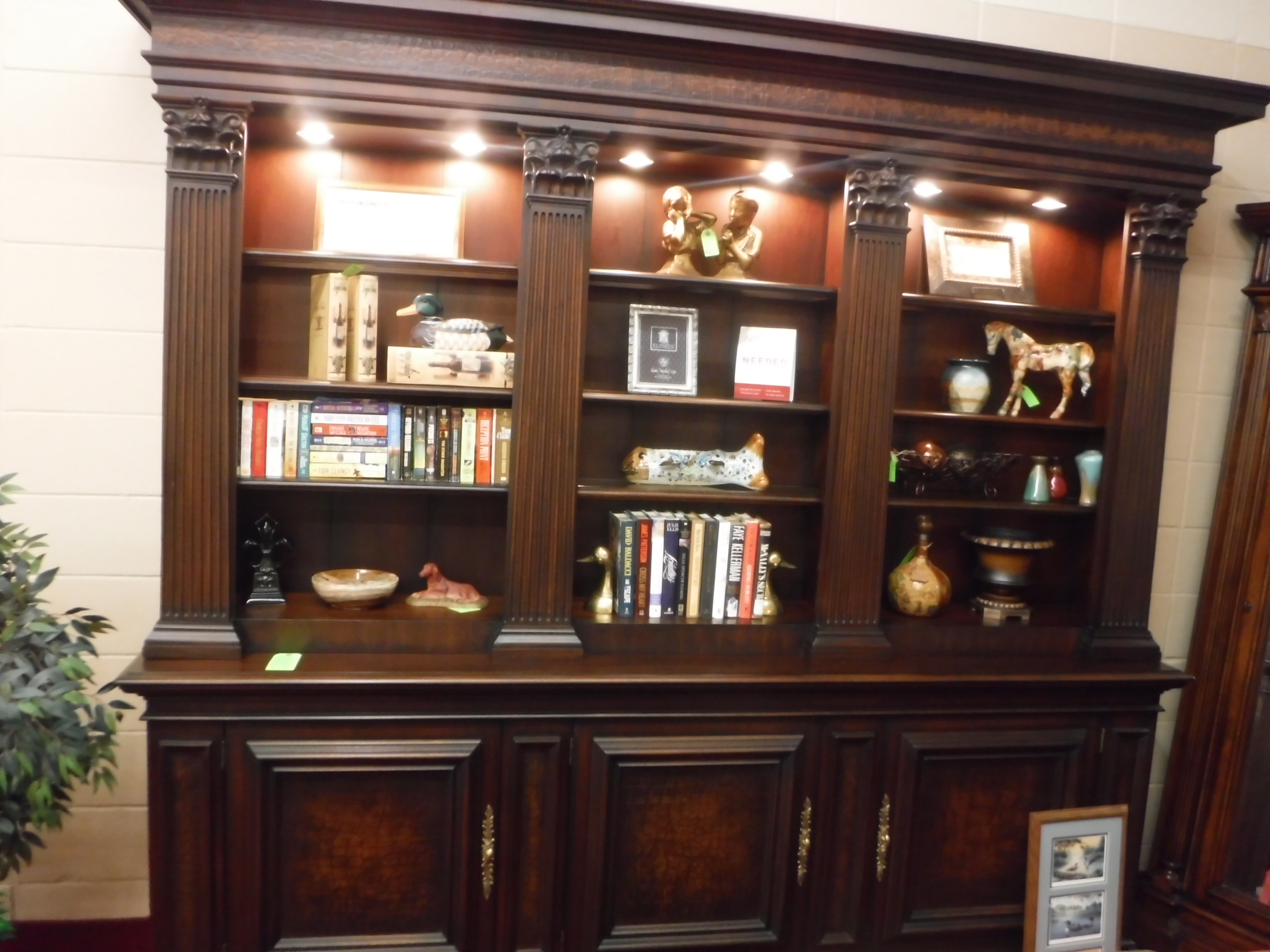 sold lighted cabinet vintage china new bookcases breakfront bookcase antique cabinets desk travis english court drexel or mahogany